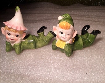 Vintage Hand Painted Green Pixie Elves Figurines