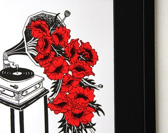 Limited Edition Silkscreen Illustration Print - Gramophone Poppies