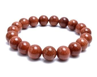 10mm Brown Golsdtone Bracelet, Womens Bracelet, Goldstone Jewelry, Wrist Mala, Yoga Mala Bracelet, Mala Beaded Bracelet Women, Womens Mala