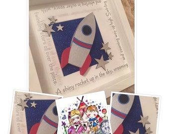 Rocket space frame nursery gift decor picture