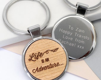Adventure Keyring, Life's Adventure, Congratulations Gift, Going Away Gift, Leaving Gift, Travelling Gift, Graduation Gift, Well Done Gift