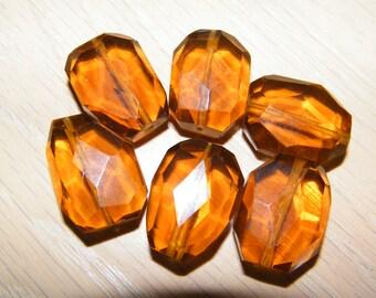 6 Amber Quartz Faceted, Machine Cut Tumble  aprox. 18X23 mm