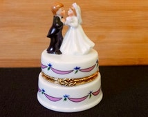 Lefton China; Bride and Groom; Hinged Trinket Box; Approx. 2.5 x 3.5 in. Very Nice !!!