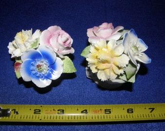 2 Minature Royale Stratford Staffordshire Vintage Bone China Rose & Flowers Bouquet