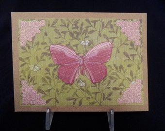 Pink Butterfly Note Card