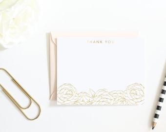 Handmade Real Gold Foil, Rose Gold Foil Thank You Notes | Mother's Day Gift | Gold Foil Floral Thank You Stationary | Shower Thank You Notes