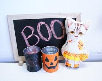 Halloween kitty doll, handmade doll, kitty pillow doll