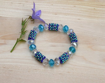 Sparkly Crystal Rondelle Bracelet - Choose from 4 - Purple, Green, Turquoise, Silver