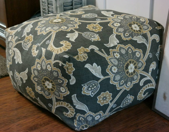 Pouf Ottoman Footstool Designer Fabric Large By ItsSewSandiLee