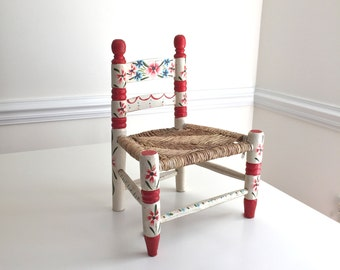 Vintage Hand Painted Wood Doll Chair Wicker Seat Stunning for the Holidays Just Wonderful!