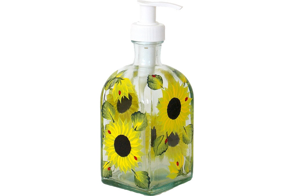 Hand Painted Glass Bottle Dish Soap Dispenser With Pump
