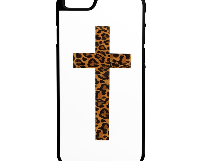 Cheetah Print Cross  iPhone Galaxy Note HTC LG Hybrid Rubber Protective Case Christian White Background