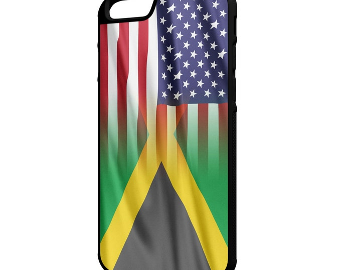"""Jamaica American Flag iPhone 4/4s 5/5s 5c 6 4.7"""" 6 Plus 5.5"""" Galaxy S4 S5 S6 Note 3 4 Hybrid Rubber Protective Case"""