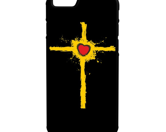 Yellow Cross Heart iPhone Galaxy Note LG HTC Hybrid Rubber Protective Case
