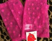 Vintage 80s Lace mesh Fingerless Gloves Polka dot pink NOS Punk New Wave