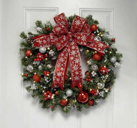 Chistmas Wreath Red Wreath Snow Flake Artificial Lighted