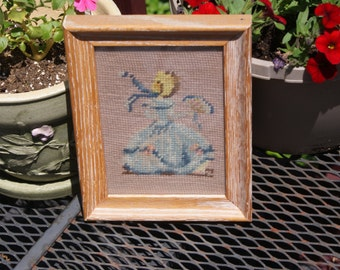 Cute Vintage Needlepoint Southern Bell With Fan Framed