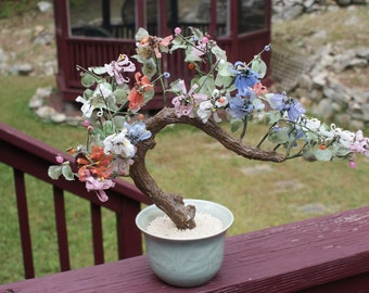 Vintage Faux Jade And Agate Bonsai Tree in Celadon Pot