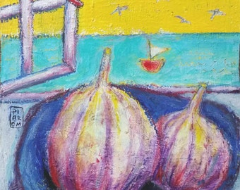 Fruits for dinner - original mixed media painting by Piarom raw-modern art