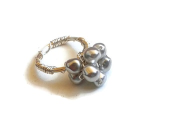 Silver Faux Pearl Cluster Wire-Wrapped Statement Ring // Size 9