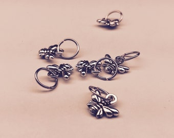 Honey Bee Silver Stitch Markers ~ Set of 6
