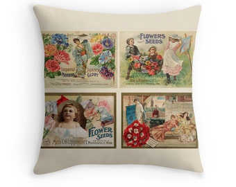 Garden Decor, Gift for Women, Gardening Gift, Retro Decor, Retro Pillow, Flower Seed Packets, Vintage Decor, Miss Lippincott, Vintage Pillow