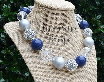 Navy and Grey Bubblegum Necklace, Chunky Necklace, Statement Necklace, Children's Necklace, Dallas Cowboys, Chunky Bead, BN60