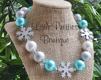 Aqua Blue & Silver Snowflake Bubblegum Necklace, Chunky Necklace, Statement Necklace, Children's Necklace, Holiday, Chunky Bead, BN64
