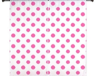 Chiffon Curtains - Fuchsia Curtains -Teen Curtains - Bedroom Curtains - Sheer Curtains - Polka Dots - Girls Curtains - Teen Room Decor -Pink
