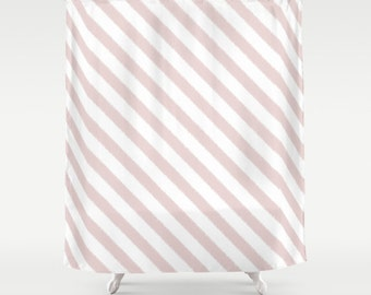 Striped Shower Curtain, Girls Bathroom Decor, Pink Shower Curtain, Teen Girl Room Decor, Girls Shower Curtain, Ikat, Stripes, Gifts for Her