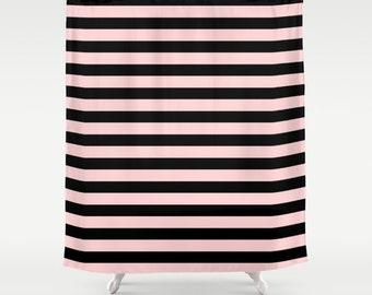 Striped Shower Curtain, Girls Bathroom Decor, Pink Shower Curtain, Black and Pink, Girls Shower Curtain, Pink Decor, Teen Room Decor
