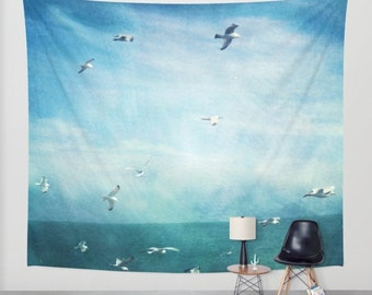 Ocean Tapestry. Home Decor. Large Size Wall Art. Photo tapestry, ocean tapestry, beach house decor, seagulls tapestry, blue tapestry