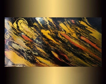 Large canvas art   black and gold Abstract Painting on canvas   Original Modern painting   Fine Art   Acrylic painting   Original artwork