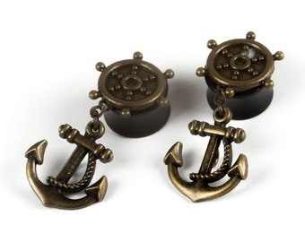 "5/8"" antique gold anchor dangle plugs"