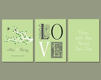 First 1st Anniversary Gift - Wedding Gift - Personalize With Any Wording or Color of Your Choice - Set of Three Prints