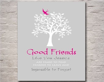 Gift for Friend, Personalized Thank You for Being a Friend, Birthday Gift, Moving Away Gift, Friendly Bird in Leafy Tree Any Color Available