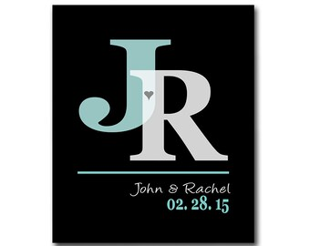 First 1st Anniversary Gift - Wedding Gift - Add Any Wording of Your Choice - Gift for Couples - Any Color Available