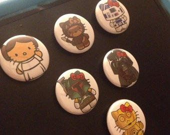 Star Wars Hello Kitty one inch round magnets or pins, set of 6