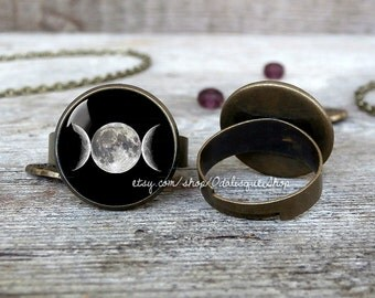 Triple moon ring goddess ring planet jewelry bronze moon phases adjustable ring birthday gift maiden mother crone  br22