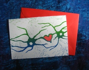 Neuroscience Love Card / science greeting card / nerdy stationery / neurons & heart love card / brain themed card / I love you blank card
