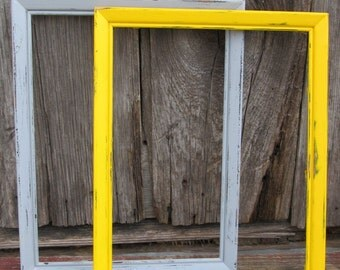 Two 10x13 Grey and Yellow Picture Frames