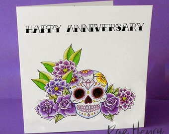 Purple Sugar Skull Anniversary Card Tattoo Rockabilly Day of the Dead Dia De Los Muertos Wedding