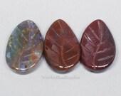 3 Fancy Jasper leaf shaped beads. Drilled lengthwise. 20mm x 30mm. Gemstone Leaves