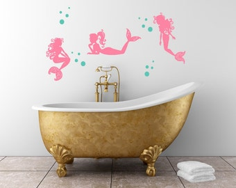 Mermaid Wall Decal - Mermaids and Bubbles - Girl Wall Decoration - Baby Room Decal - Nursery Wall Decal - Vinyl Sticker - Mermaid Wall Decor