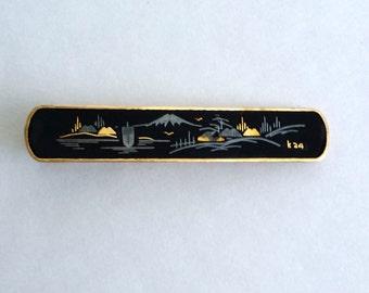 Amazing Vintage Signed JAPAN 24k Yellow Gold Plated Damascene Japan Scene Tie Clip Clasp Bar