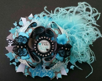 Girls Hairbow, Bling Hairbow, Ott Hairbow, Feather Hairbow, Girls Hair Accessory, Pageant Hairbow, Blue and Black Bow, Lace Hairbow