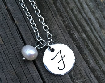 """Initial """"F"""" Necklace Hand-stamped with freshwater pearl & stainless steel chain"""