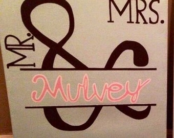Mr and Mrs canvas art