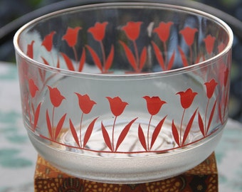 Vintage 1980's Glass Mixing/Serving bowls with Pink Tulip design.