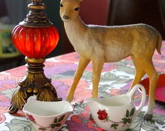 Midwinter Stylecraft Milk Jug & Sugar Bowl in the Red Rose Pattern. 1950s tea set. Mid century creamer and sugar bowl.